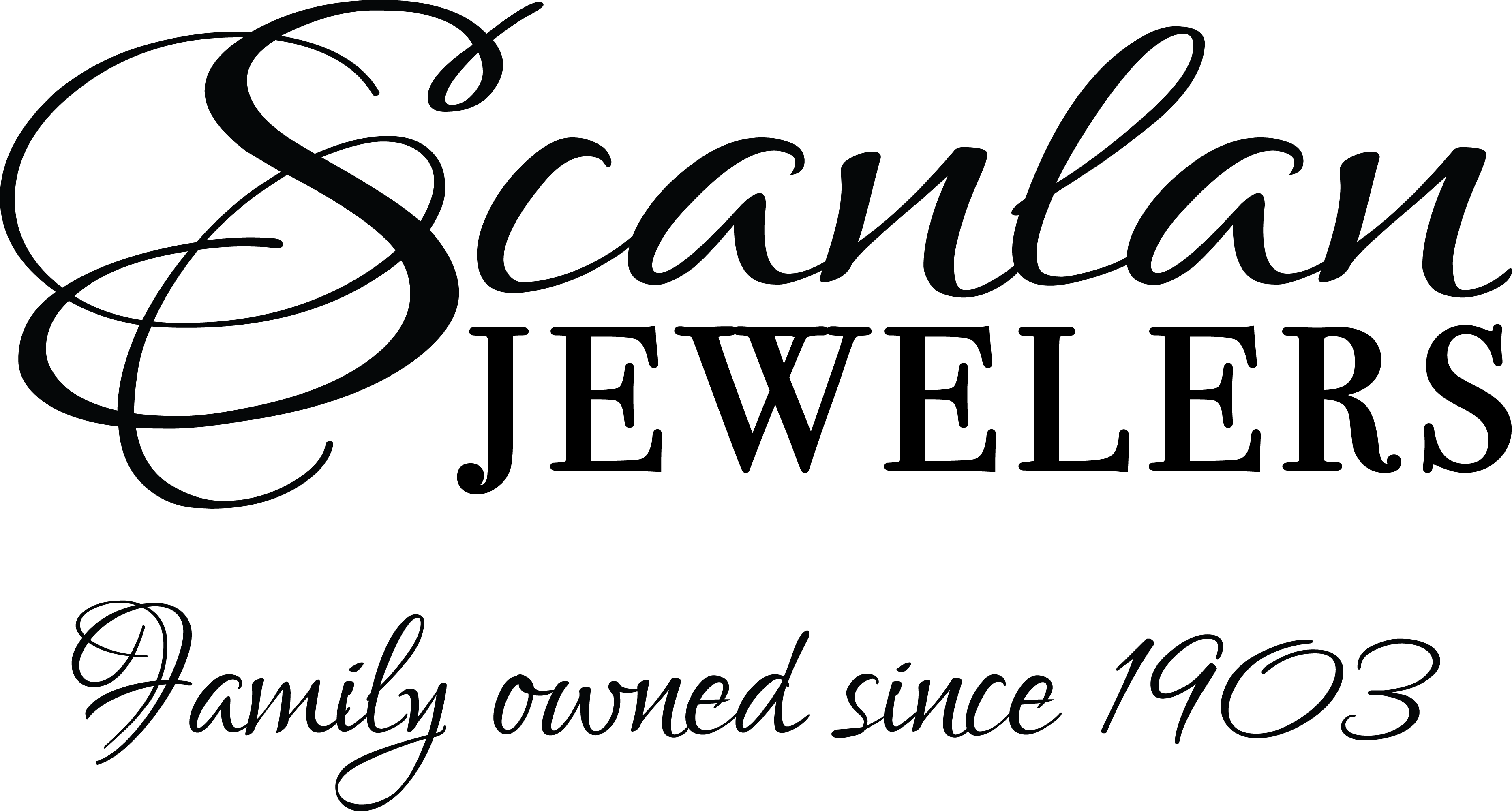 Scanlan Jewelers logo. Family owned since 1903.